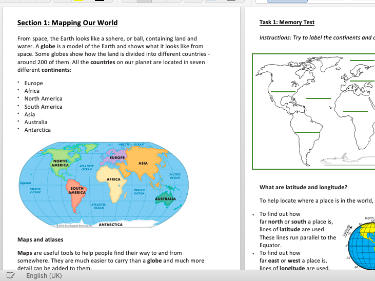 Geography KS2 - 3 Transition (year 6/7) Booklet