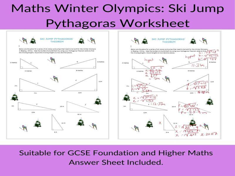 Maths Winter Olympics-Pythagoras worksheet