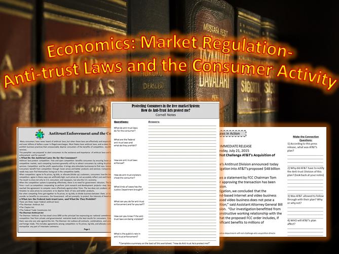 "U.S. Economics: Market Regulation ""Anti-Trust Laws"" ~A Creative Student Activity~"