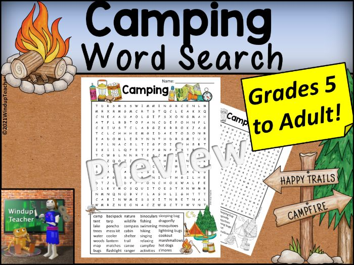 Camping Word Search HARD for Grades 5 to Adult