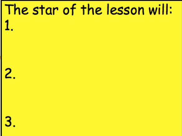Star of the Lesson Template