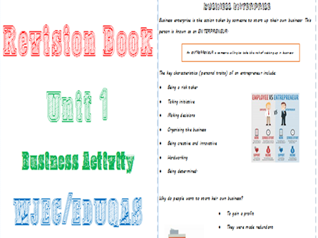 Business Activity Revision Unit 1 WJEC/EDUQAS