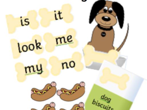 Reception word game Give the dog a bone  tricky words phase 2 and 3