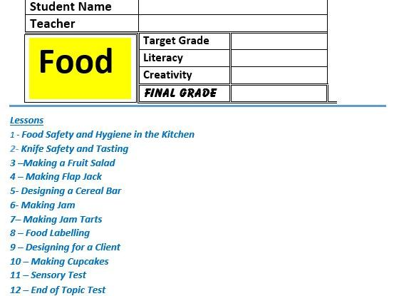 Food KS3 STEM 12 Lessons and end of topic test booklet