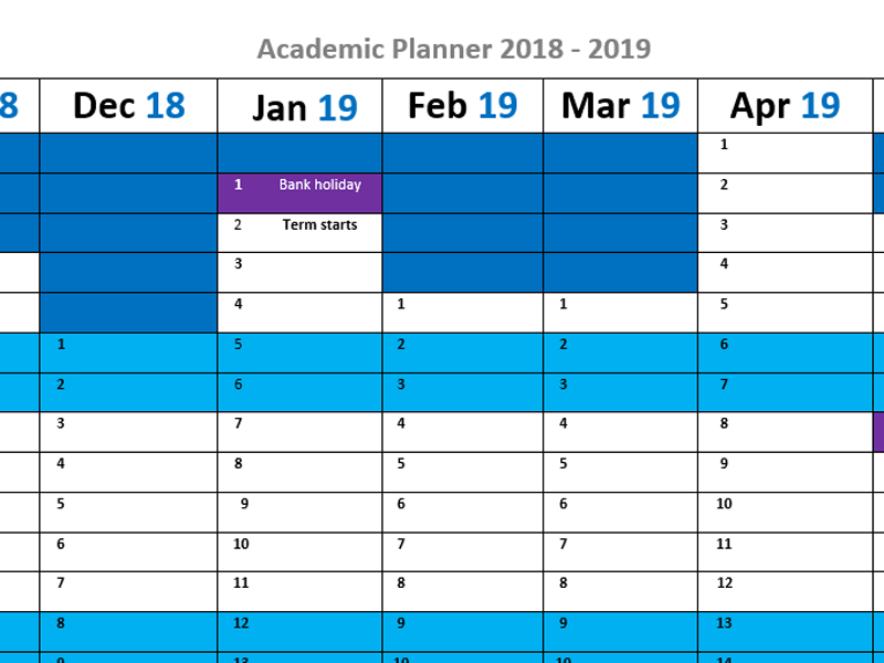 Academic planner 2018-19 (A3) (Word)