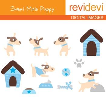 Clip art Sweet Male Puppy 07104 (pet, cute little dogs) clipart