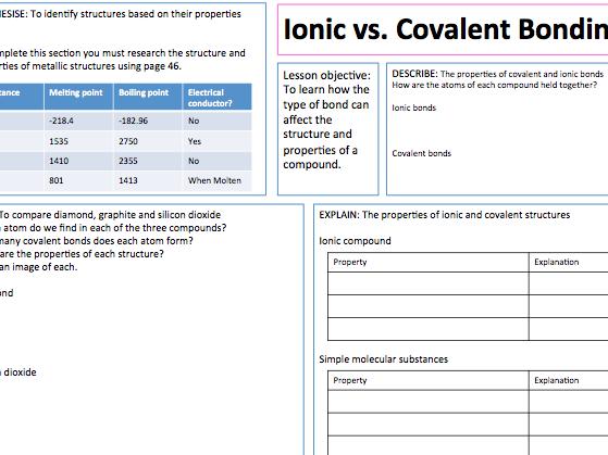 Ionic vs. Covalent Structures - Lesson presentation, A3 Lesson map