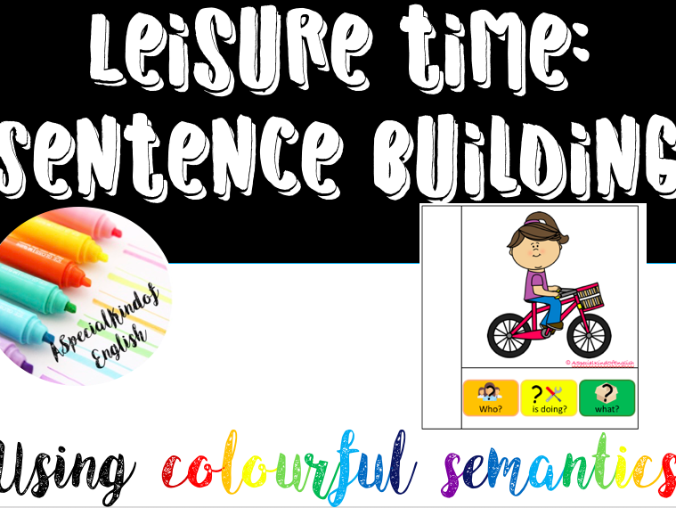 Leisure time interactive books, task cards and writing using colourful semantics