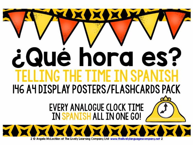 SPANISH TELLING THE TIME - 146 POSTERS PACK - ALL ANALOGUE CLOCK TIMES!