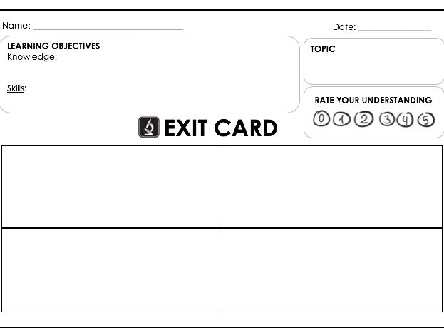 Exit Cards - editable