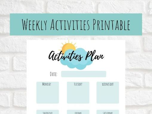 Weekly Extra Curricular Activity Planner