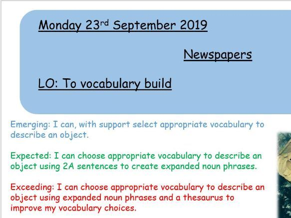 KS2 Newspaper - Space (10 lessons with warm up activities)