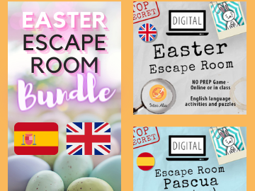 BUNDLE - Spanish PASCUA + English EASTER Escape Room - Digital activities and puzzles