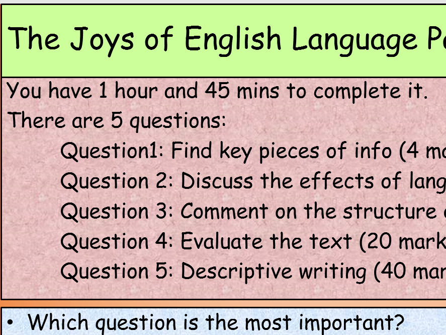 AQA English Language Paper 1 Activities