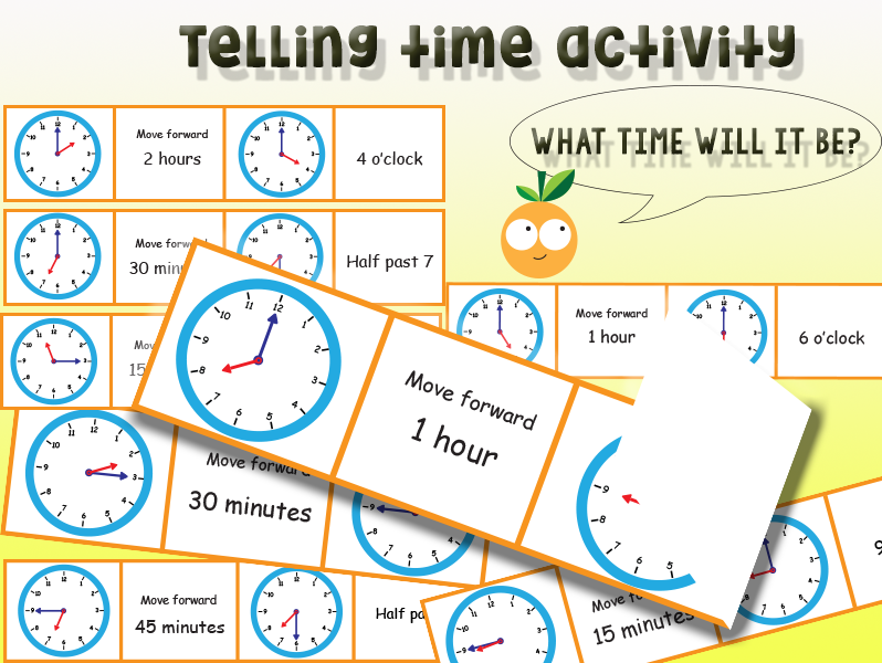 Telling time: What time will it be in hours,15 minutes, 30 minutes and 45 minutes?