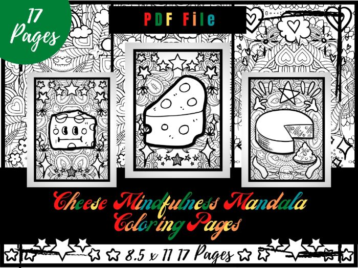 Cheese Mindfulness Mandala Colouring Pages, Food Colouring Printable Sheets PDF