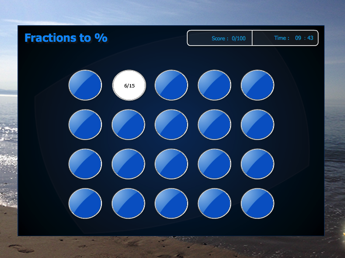 Harder Equivalent Fractions to Percentage Interactive Match Games