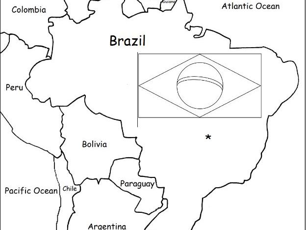 BRAZIL - Printable handouts with map and flag