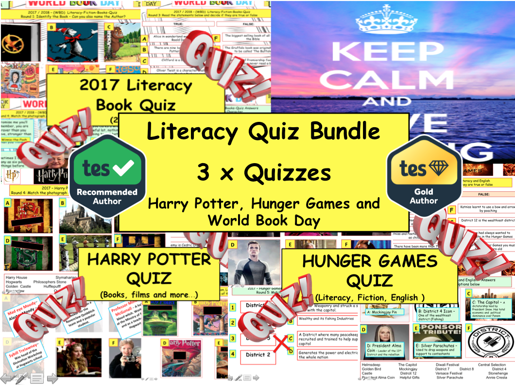 2017 Set of 3x Whole school (PSHE/CITIZENSHIP) Fun Literacy World Book Day Quizzes  - Authors - Harry Potter - Hunger Games -
