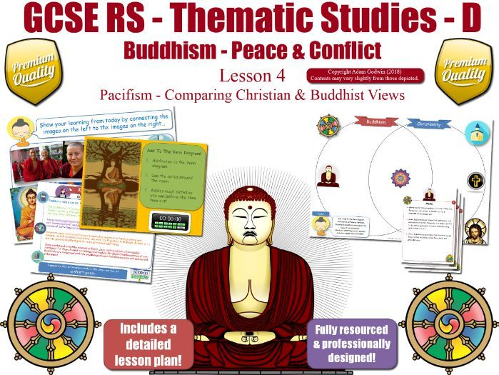 Pacifism - Comparing Buddhist & Christian Views (GCSE Buddhism - Peace & Conflict) Peace -  L4/7