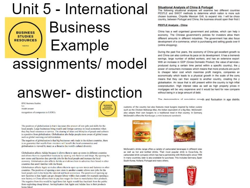Unit 5 International Business Model Answers,Exemplars,Marked Student Work Disntinction BTEC BUSINESS