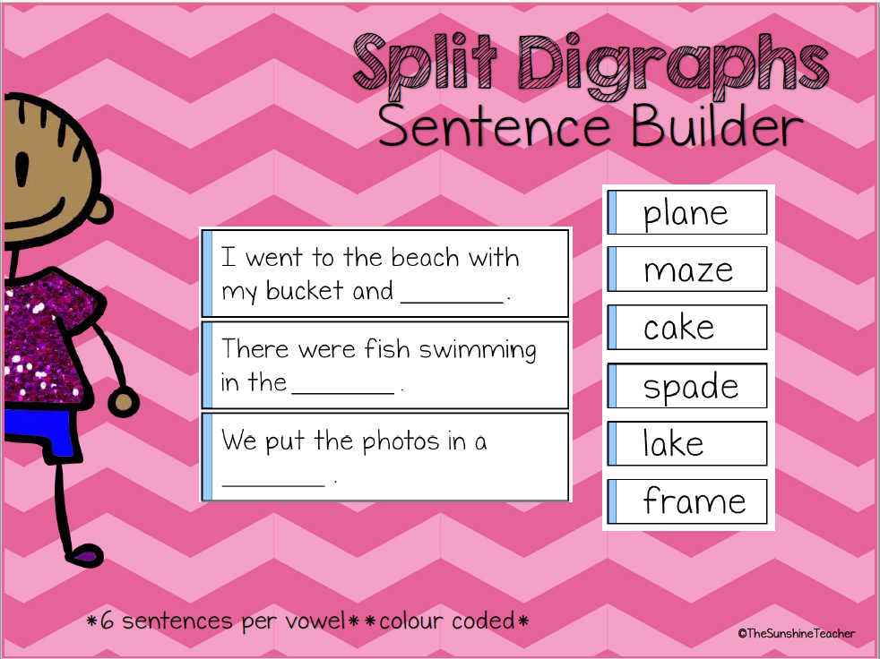 Split Digraphs - Magic E - Sentence Builder - English Activity -Phonics