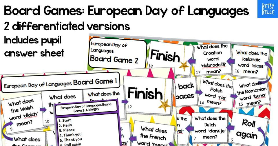 European Day of Languages Board Game