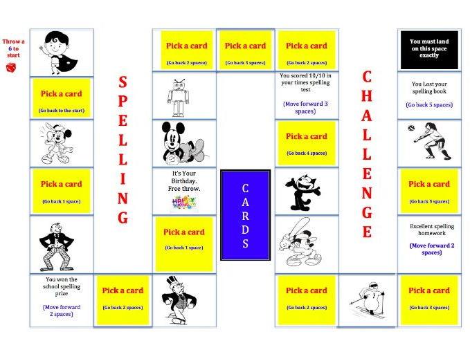 Yr 3, Yr 4, Yr 5, Yr 6 Spelling Board Game