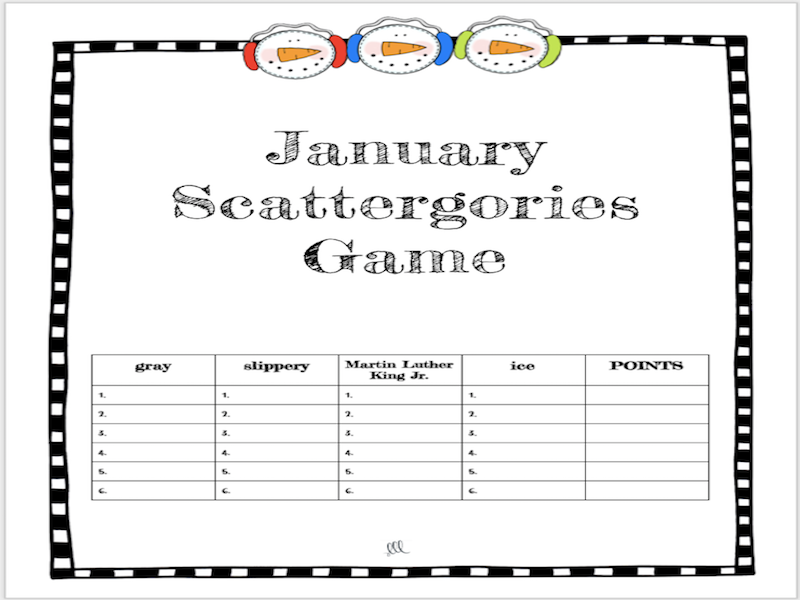 ESL - ELL January Vocabulary Scattergories Game