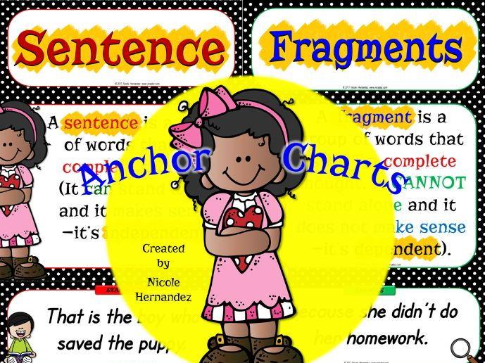 Sentences and Fragments Anchor Charts