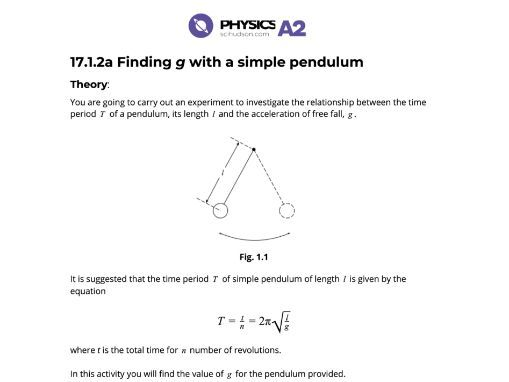 A2 Physics 9702 - Practical - 17.1.2a Finding g with a simple pendulum