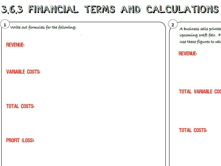 AQA GCSE Business (9-1) 3.6.3 Financial Terms and Calculations Learning Mat / Revision