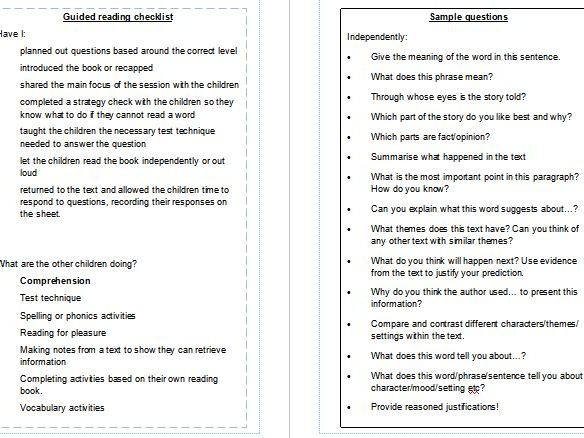 Reception to Year 6 Planning guided reading templates