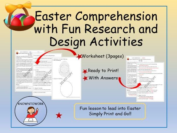 Easter: Comprehension and ActivitiesMiddle to Upper Primary
