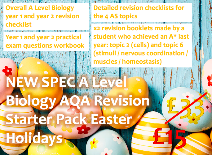NEW SPEC A Level Biology AQA Revision Starter Pack Easter Holidays