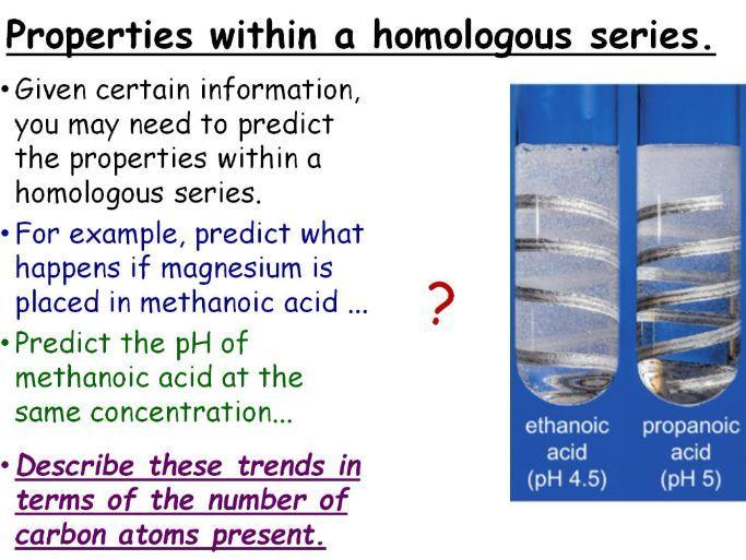 GCSE Chemistry The Carboxylic Acids Homologous Series Full Lesson (Edexcel 9-1 SC23c) TRIPLE ONLY