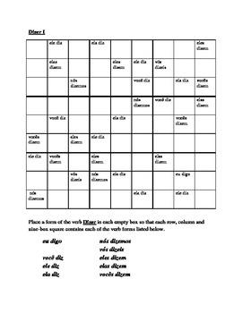 Dizer Portuguese verb present tense Sudoku