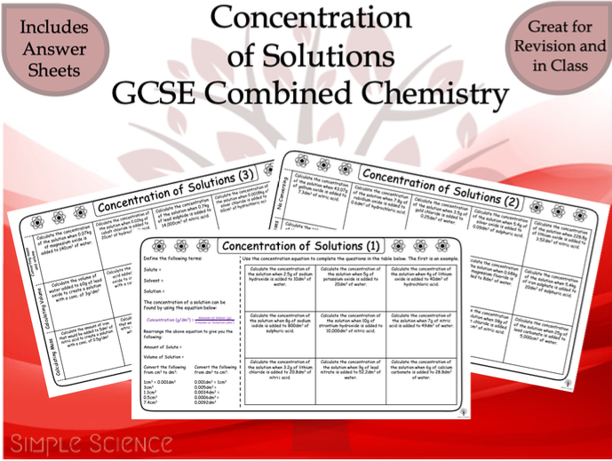GCSE Chemistry - Concentration of Solutions Worksheets