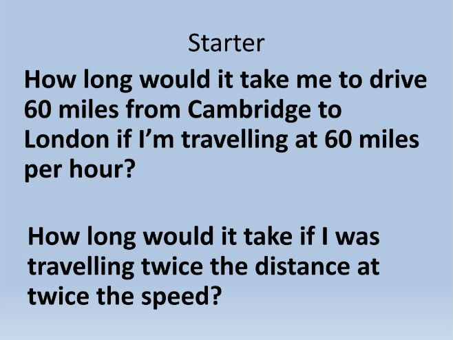 Speed, Distance, Time - Compound Measures
