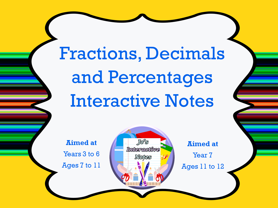 Fractions, Decimals and Percentages Interactive Notebook