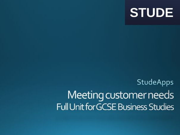 Business Studies GCSE meeting customer needs unit
