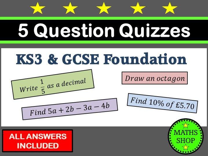 Maths Quiz Worksheets