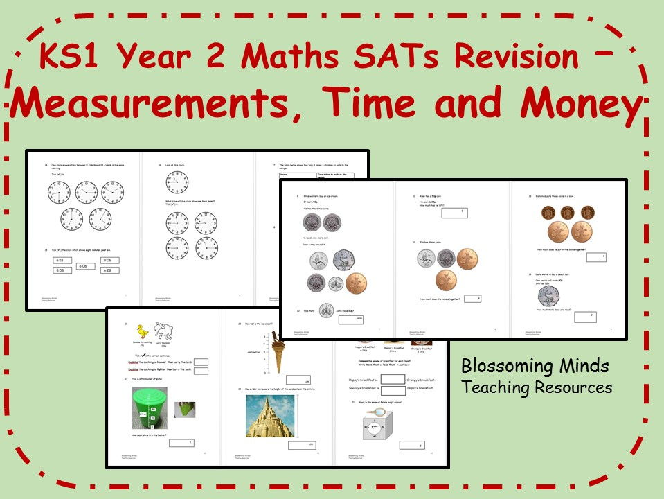 ks1 year 2 maths sats revision pack time money and measurements differentiated levels by. Black Bedroom Furniture Sets. Home Design Ideas