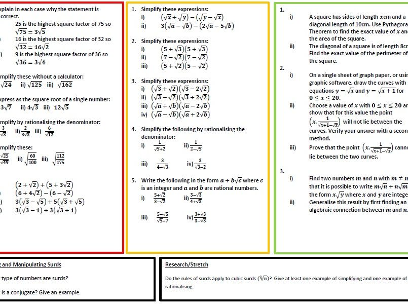 Surds and Indices Practice (A-Level)