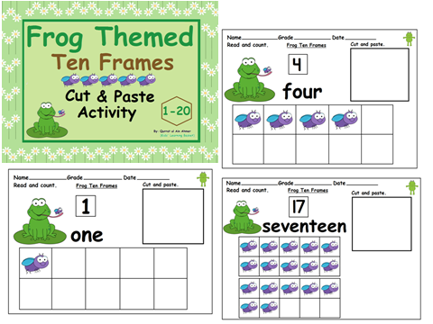 Frog Themed TenFrames Cut &Paste Activity