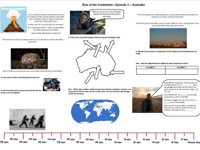 BBC - Rise of the Continents - Ep 2 Australia - Iain Stewart - Worksheet