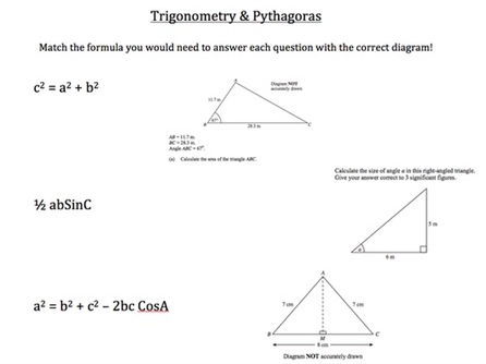 Trigonometry & Pythagoras Revision Sheet by Brabanski - Teaching ...