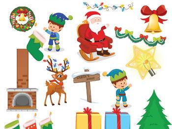Christmas Clip Art Elements Mega Bundle | 100 Winter Clipart Elements