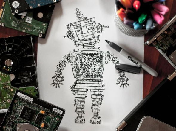 Adult Coloring - Intricate Robot Coloring Page - A4 digital download printable PDF