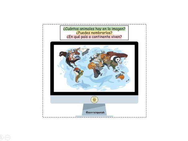 STARTER Los animales, países y continentes. Vocabulario. Spanish animals, countries and continents